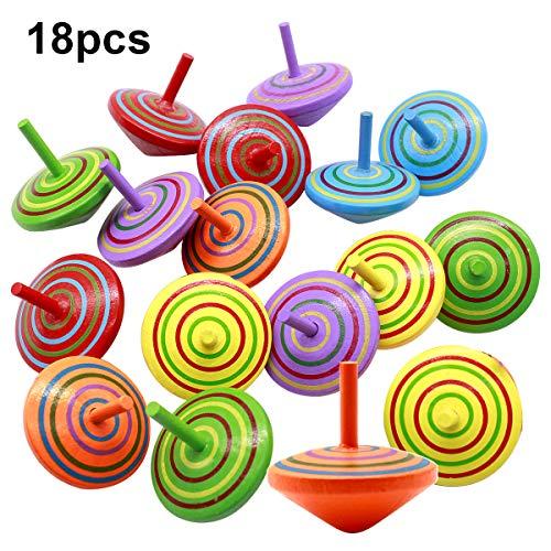Natuce 18 PCS Peonza trompo, Juguetes para niños, Juego de peonzas, Peonzas de Madera de Colores, Creativo Juguete, Regalos para Comuniones, Niños, Niñas, Fiesta cumpleaños favores - 4 * 4 * 4 cm
