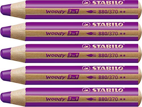 Matita colorata Multi-Funzione - STABILO woody 3 in 1 - Confezione da 5 - Lilla