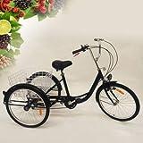 YiWon Zahnräder Dreirad für Erwachsene Dreirad für Erwachsene Adult Tricycle NEU 24' 6 Gänge Dreirad für mit Korb 3 Rad Fahrrad Comfort Shopping Tricycle Fahrrad Outdoor Sports Stadt Vorstadt