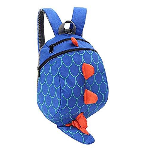 DafenQ Mochila Infantil Dinosaurio Bolsas PequeñA Bebes Guarderia Bolsa con Arneses de Seguridad para Niños (Azul)