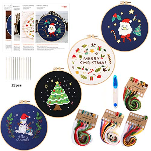 4Pack Embroidery Starter Kit with Santa Claus and Christmas Tree Pattern and Instructions, DIY Beginner Starter Stitch Kit Include 1 Embroidery Hoops,4 Embroidery Clothes