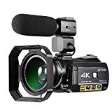 Emperor of Gadgets Camcorder 4K, 4K Ordro videocamera Ultra-HD digitale con microfono esterno,...