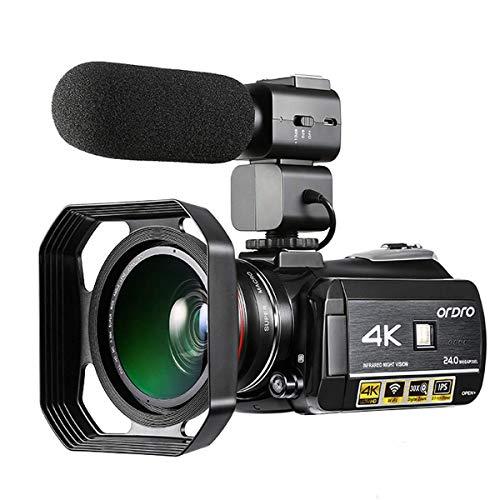 Emperor of Gadgets Camcorder 4K, 4K Ordro videocamera Ultra-HD digitale con microfono esterno, obiettivo grandangolare e Lens Hood / IR Night Vision Camcorder 24MP Wifi 60fps