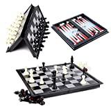 Hoshin Juego de ajedrez / Damas / Backgammon 3 en 1, Tablero de ajedrez magnético portátil Plegable para niños (25x25x2cm)