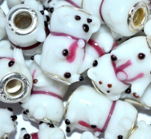 FamilyMall-Ciondolo in vetro di murano, con perle, placcato in argento, a forma di orso polare