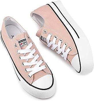 Women's Platform Low Top Lace Up Casual Canvas Shoes (9, 9.5 & 6)