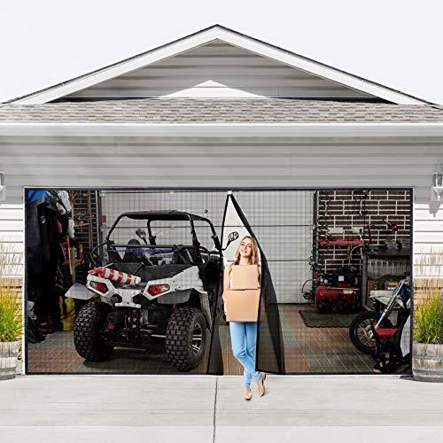 Magnetic Garage Door Screen 16x7 ft for 2 Car Door, Bottom of The Screen is Weighted - Self Sealing Fiberglass Mesh Magnetic Closure Fits Garage Door Size up to 192