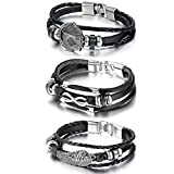 Cupimatch 3PCS Herren Damen Retro Armband, geflochten Punk Rock Infinity Royal Flush Poker Karte...