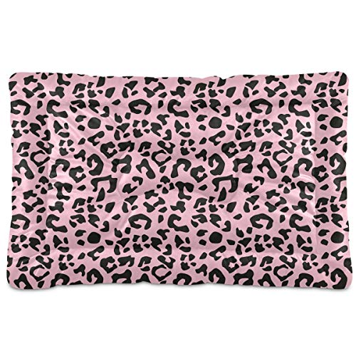GuoChe Dog Beds Leopard Pattern Pink Black Design for Small Dogs Cats Pet Bed Pad for Crates 18 x 24 Machine Wash Categories