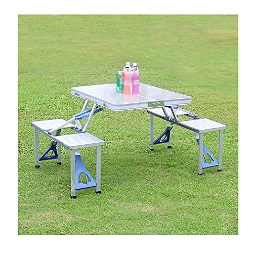 XIAOJU Mesa de Picnic Plegable para 4 Personas, Juego de sillas de Mesa de Aluminio, portátil, Ligero y Ajustable en Altura para Barbacoa, Fiesta en el jardín,Silver