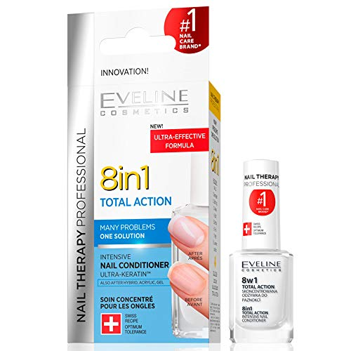 Eveline Cosmetics 8in1 Total Action |12 ML | Professionelle Nägel-Therapie | Konzentrierter Nägel-Conditioner | Schnelleres Wachstum | Stärkere Nägel | Einfache Anwendung