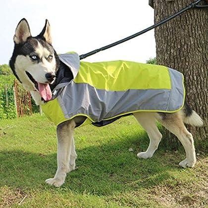 Material: Polyester. super atmungsaktiven Regenmantel mit Hut, um Ihren Hund vor dem Regen/Schnee zu schützen, geeignet für Herbst/Winter. Reflektierendes Design: Dieser Regenmantel kann auch auffällig sein und die Sicherheit Ihres Hundes in der Nach...