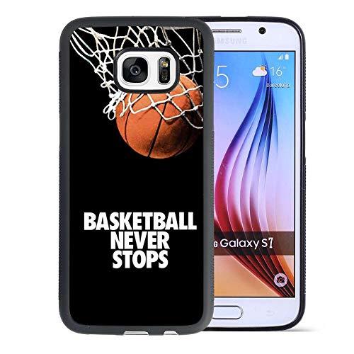 Samsung Galaxy S7 Phone Case Basketball Never Stops Pattern Hard Shell Tire Soft Edge TPU+PC Black Material Samsung Galaxy S7 Case