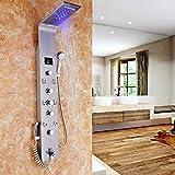 Huin Mampara de ducha LED de acero inoxidable con función de bidé, llenadora de bañera, indicador de temperatura y 8 chorros de masaje
