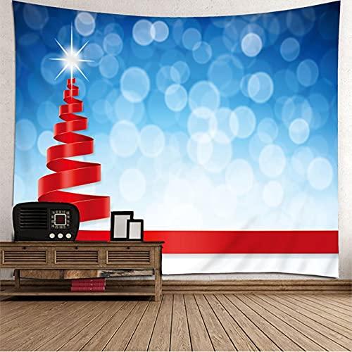 KnBoB Tapiz Decorativo Pared Árbol de Navidad Luz de Estrellas Ribbon 260 x 240 CM Tejido Poliester Impermeable Decoracion Hogar