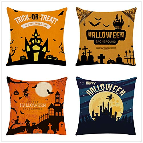N / A Throw Pillow Case Cushion Covers Halloween Cotton Linen Decorative Square Pillowcases for Sofa Bedroom with Lnvisible Zipper Car Home Decor Set of 4 Pillowcase 50x50cm(20x20inch) Y641
