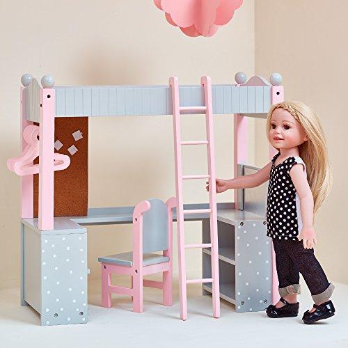 Olivia's Little World - 18' Doll Furniture , Polka Dots Princess College Dorm Double Bunk Desk, Fits American Girl Dolls, Gray