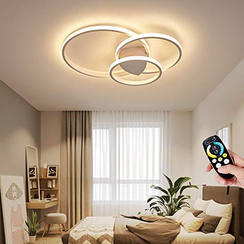 Lampada da soffitto Soggiorno LED Dimmerabile acrilica Luci tondo anello creativa Plafoniere Camera da letto con telecomando illuminazioni per moderna Sala da pranzo Studio Ufficio, D55CM, Bianco