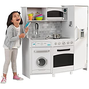KidKraft 53369 Large White Wooden Pretend Play Toy Kitchen for Kids with lights & sounds and play phone