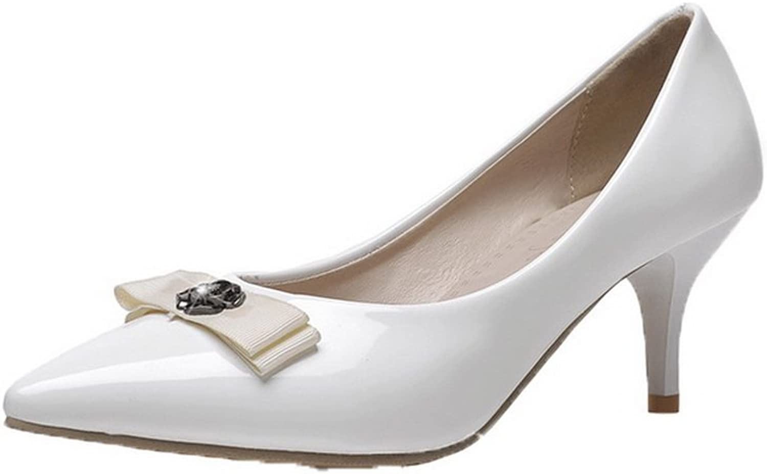 AmoonyFashion Women's Pull-On Closed-Toe Kitten-Heels PU Solid Pumps-shoes, White, 37