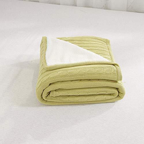 Amosiwallart Mantas para Sofa, Mantas para Cama de Franela Reversible, Mantas Ligeras de 100% Microfibra - Fácil De Limpiar - Extra Suave Cálido -Verde Mostaza_El 120cmX180cm