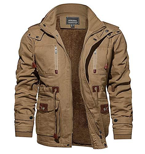 CRYSULLY Men's Jacket Casual Long Sleeve Full Zip Jacket with Shoulder Straps Khaki