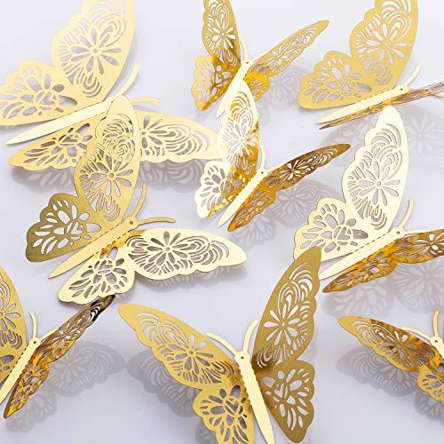 MWOOT 48 pezzi 3D farfalle adesivi da parete, (d'oro/argento) sticker decorativi da parete per la festa di compleanno decorazione della camera da letto di nozze decorazioni per la casa