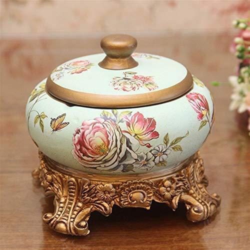 LILICEN Cenicero, Europea Decorativo Pastoral Creativa cenicero de Resina Pintado Caja del Caramelo del pote de cerámica de la joyería Caja de American Country