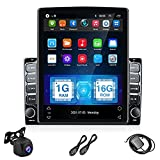 UNITOPSCI Double Din Android Car Stereo in Dash GPS Navigation 9.7 Inch Vertical HD Touch Screen Head Unit Support WiFi Bluetooth Mirror Link FM Radio Receiver Car Player + Backup Camera Dual USB SWC