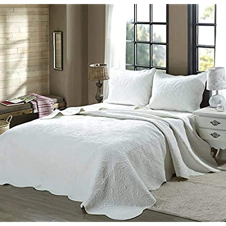 Cozy Line Home Fashions Victorian Medallion Solid White Embossed 100% Cotton Bedding Quilt Set,Reversible Bedspread, Coverlet (Blantyre - White, Oversized King - 3 Piece)