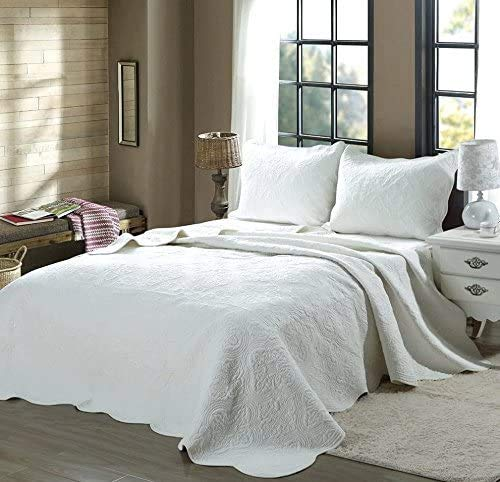 Cozy Line Home Fashions White/Ivory/Green/Grey/Chevron/Maze/Medallion/StreamCurve PureCotton Bedding Quilt Set,Coverlet,for Bedroom/Guest Room (Blantyre - White, Oversized Queen - 3 Piece)