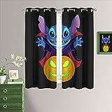MRFSY Cortinas opacas de Lilo & Stitch funcionales, cortinas opacas para dormitorio, aislamiento térmico, privacidad asegurada, 150 x 182 cm