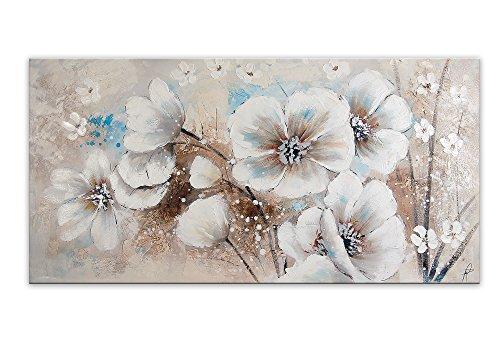World Art, TWAS380X1, Fiori Bianchi, Dipinti su telaio estetico, 150 x 75 x 3.5 Cm, multicolore