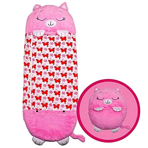 Saco de dormir infantil Happy Sleeping Bag Pillow Sleeping Bag - Convierte tu divertida almohada 2 en 1 en un saco de dormir para viajes y siestas al aire libre. (Color : Pink, Size : 155x55cm)