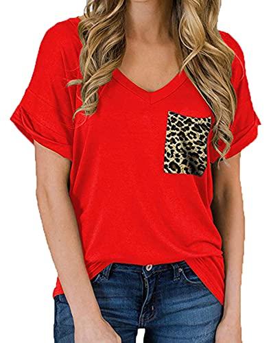 Camiseta Holgada De Manga Corta con Cuello En V Y Bolsillo para Primavera Y Verano para Mujer