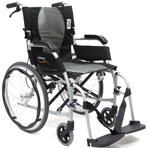 """Karman Ergonomic Wheelchair Ergo Flight with Quick Release Axles in 18"""" Seat, Pearl Silver Frame"""