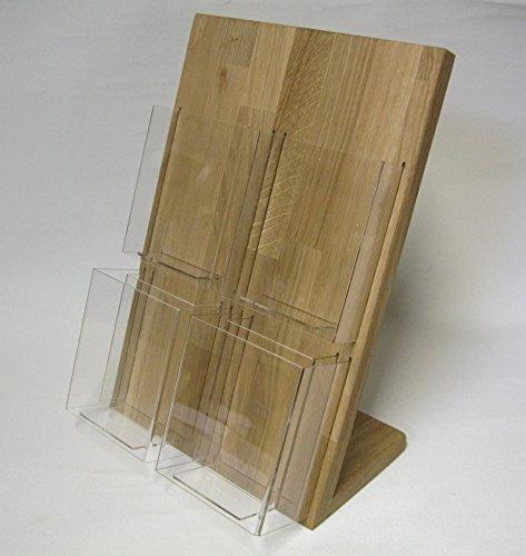 LINLAY Intarsien & Gravuren 11x21 DIN-Lang DL Tisch 4 Einsätze Flyerhalter Holz Eiche Prospektständer Flyerständer Prospekthalter Postkarte