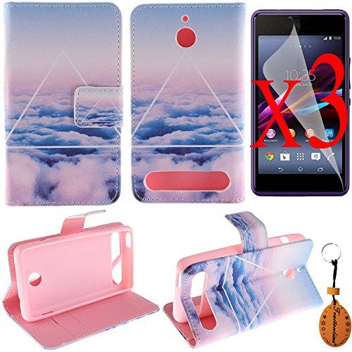 Traitonline  película protectora + llavero + flip PU cuero Billetera magnética caso reposar cubierta Sony Xperia E1 cubrir funda caso