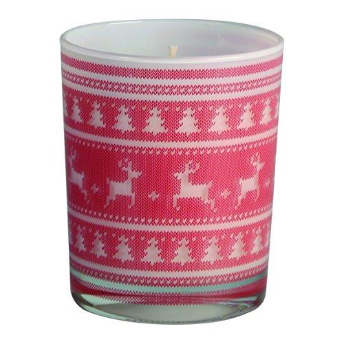 Weihnachtskerze Kerze mit Tannen- und Rentiermotiv, pflanzliches Wachs. Maße: 7,5 x 9 cm hoch.
