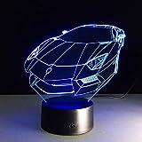 Lámpara de mesa LED 3D Luz de noche colorida Modelo de coche deportivo Lámpara de atmósfera táctil para ventilador automático Decoración de dormitorio Regalo para niños
