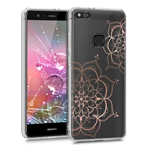 kwmobile Hülle kompatibel mit Huawei P10 Lite - Handyhülle - Handy Case Blumen Zwillinge Rosegold Transparent