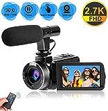 Videocamera Videocamere per Youtube, Videocamera per Vlogging con Microfono 2.7K Ultra HD 30MP 18X...