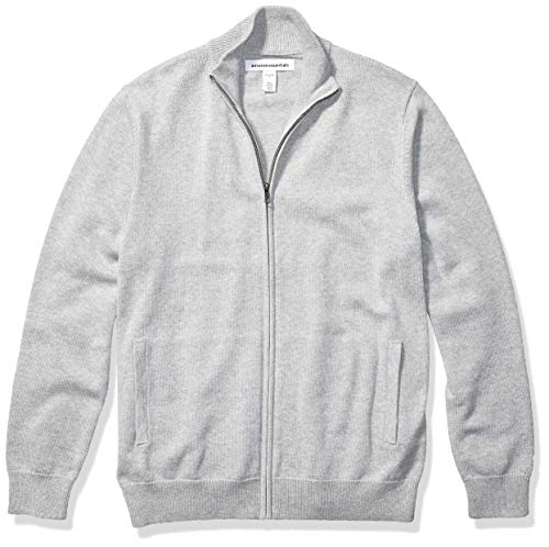 Amazon Essentials Men's Full-Zip Cotton Sweater, Light Grey Heather, X-Large