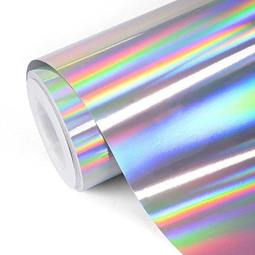 TECKWRAP Glänzendes Vinyl, Regenbogenfarben, holografisch, silberfarben, verchromt, 30 x 152 cm
