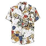 Camiseta de Manga Corta para Hombre,Blusa de Camisa Hawaiana con Estampado de Lino de Algodón Casual de Manga Corta étnica para Hombre