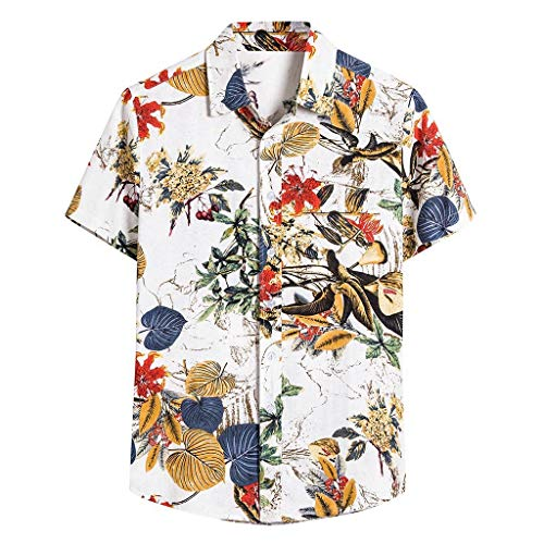GDJGTA Men's Hawaiian Ethnic Holiday Vacation Printed Short Sleeve Tee Shirt Cotton Linen Lapel T-Shirt Button Blouse M-5XL