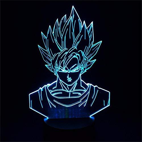 Luz de Noche 3D Anime Ilusión Lámparas de decoración LED 3D Lámpara de Regalo para Luz de Dormitorio Sensor táctil LED Lámpara de EscritorioDragon Ball Goku Anime Luz