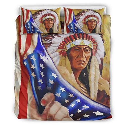 Mentmate Store Native American Ancestor Couvre-lit en microfibre ultra douce avec 1 housse de couette et 2 taies d'oreiller pour chambre à coucher garçon Blanc 264 x 229 cm