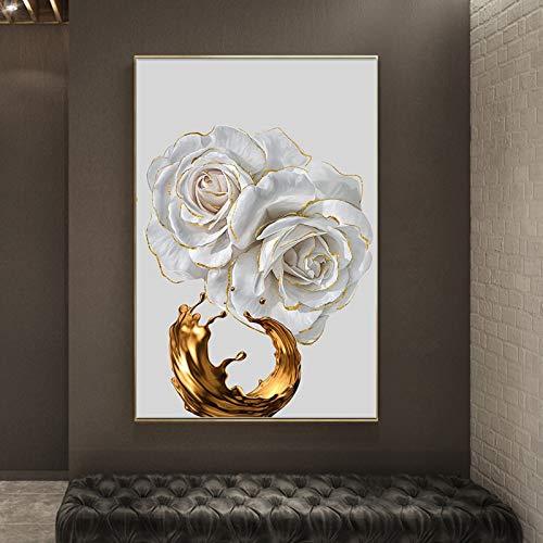 WOEJGO Impresión en lienzo de pared, acuarela nórdica, rosa blanca, flor dorada, impresión abstracta, arte moderno, decoración para el salón, sin marco (20 x 35 cm, C)