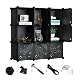 Greenstell 9 Cubes Storage Organizer with Doors,DIY Plastic Stackable Shelves Multifunctional Modular Bookcase Closet Cabinet for Books,Clothes,Toys,Artworks,Decorations (Black
